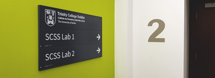 This AD Pro wayfinding sign is made in three sections for easy update